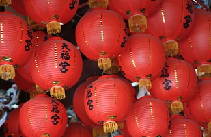 Red lanterns in a quiet temple