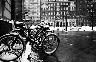 Bicycles in the city of snow